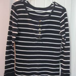 Gap Thermal Henley Navy White Striped Large